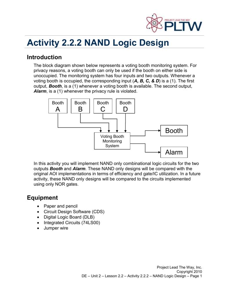 Activity 222 Nand Logic Design Diagram Using Gates Only