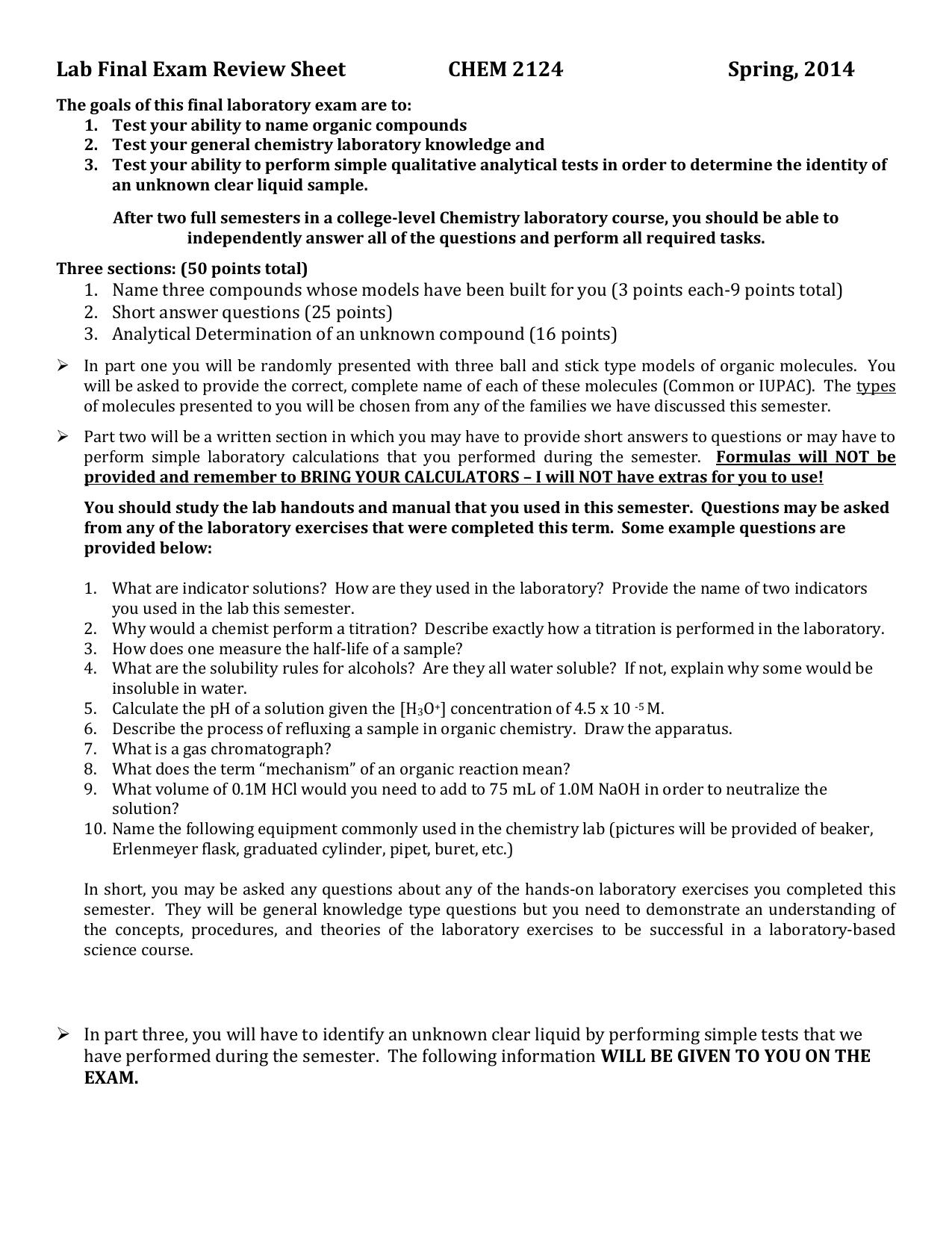 Lab Final Exam Review Sheet CHEM 2124 Spring, 2014