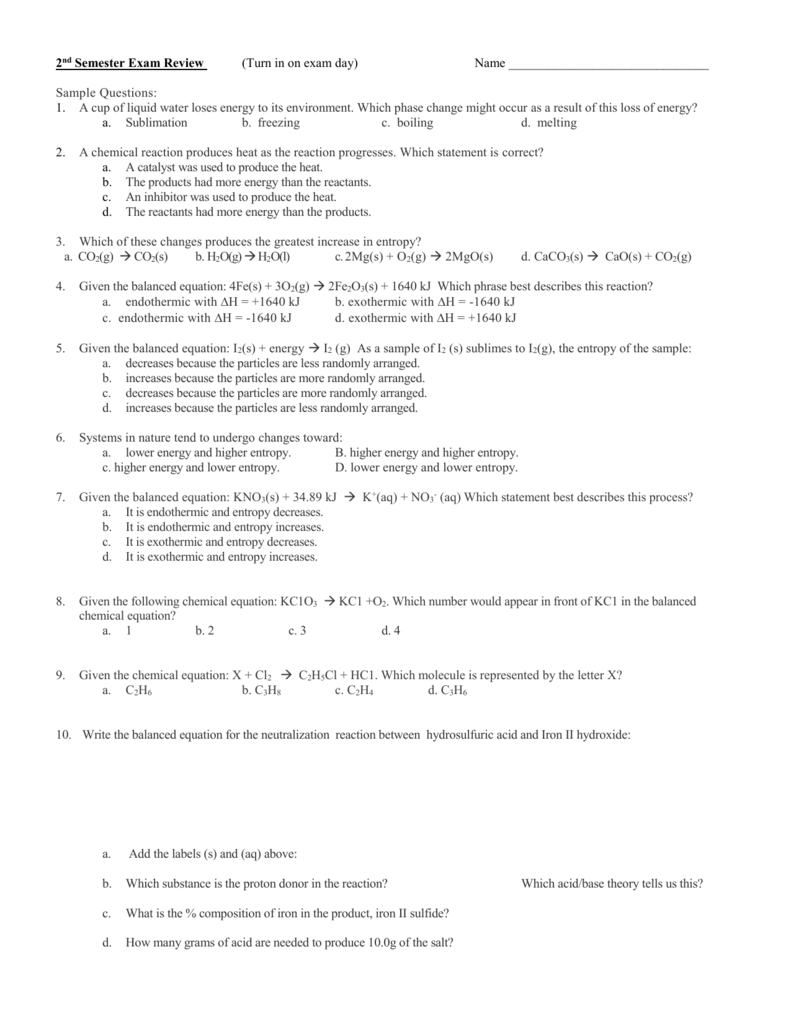 exothermique ou endothermique 2nde