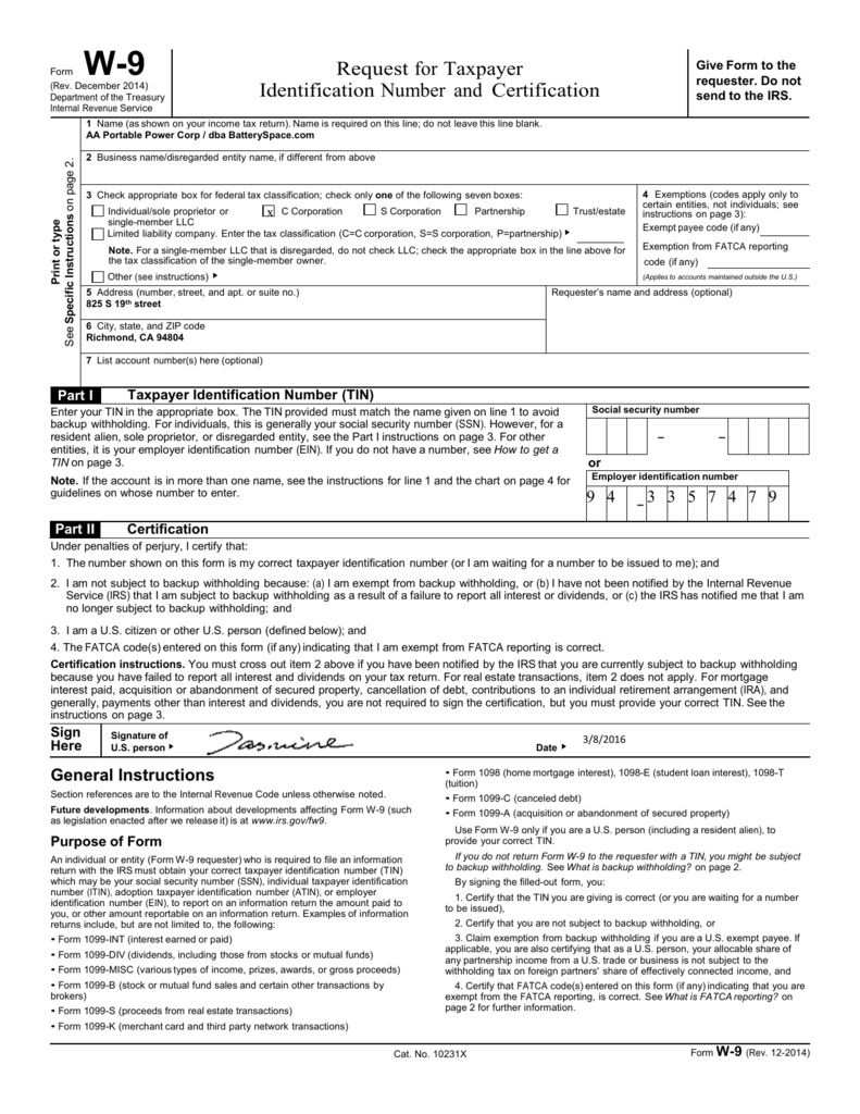 Form W 9 Rev December 2014