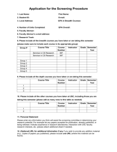 Application for the Screening Procedure - Fall 2003
