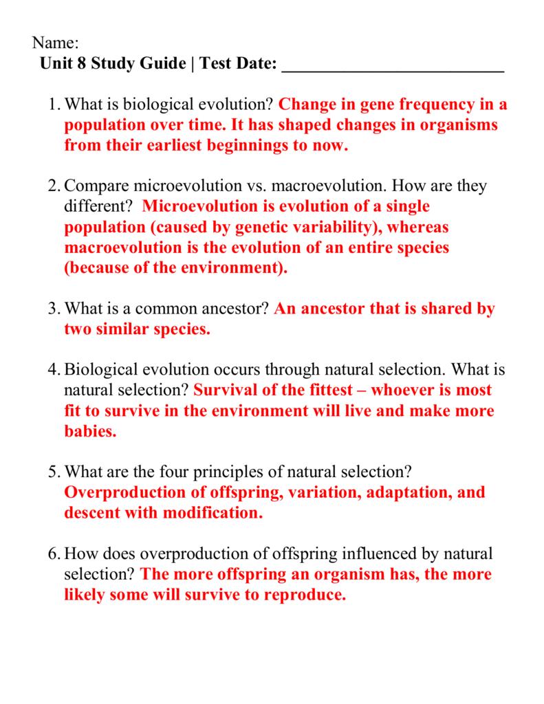 evolution study guide answer key rh studylib net AP Biology Reading Guide Answers Common Descent