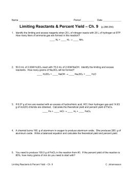 Limiting Reactants Worksheet