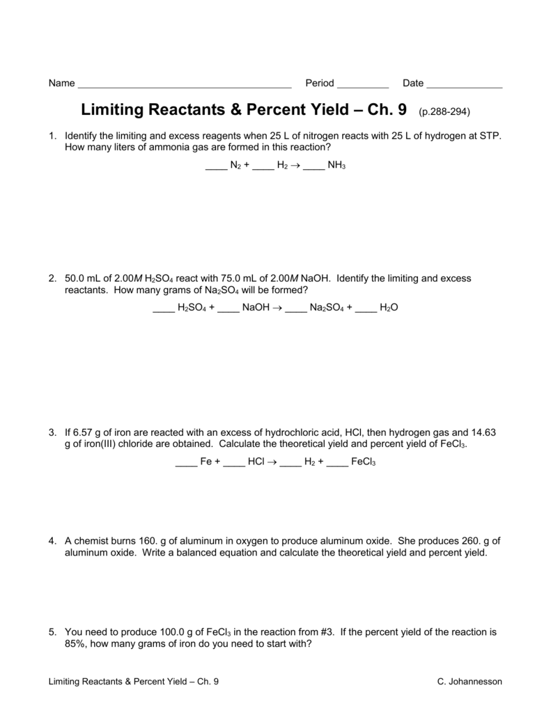 Uncategorized Theoretical And Percent Yield Worksheet limiting reactants worksheet