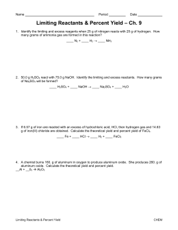 Limiting Reactants Worksheet