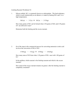 Limiting Reagents Worksheet