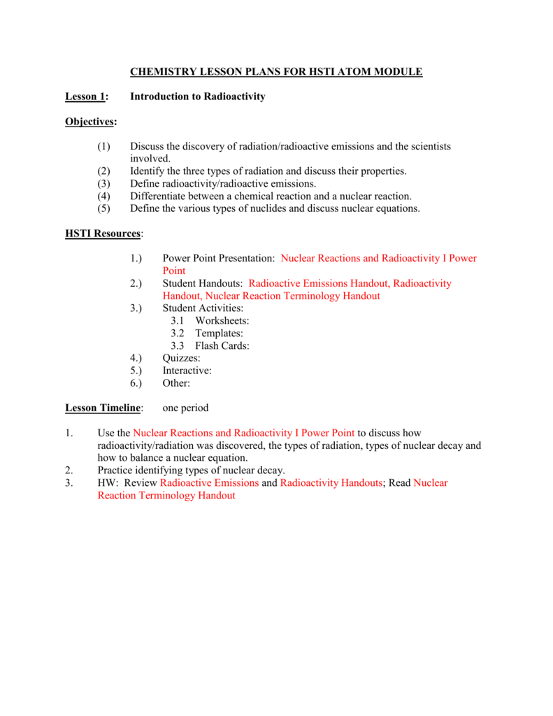 worksheet Nuclear Reaction Worksheet nuclearlessonplan