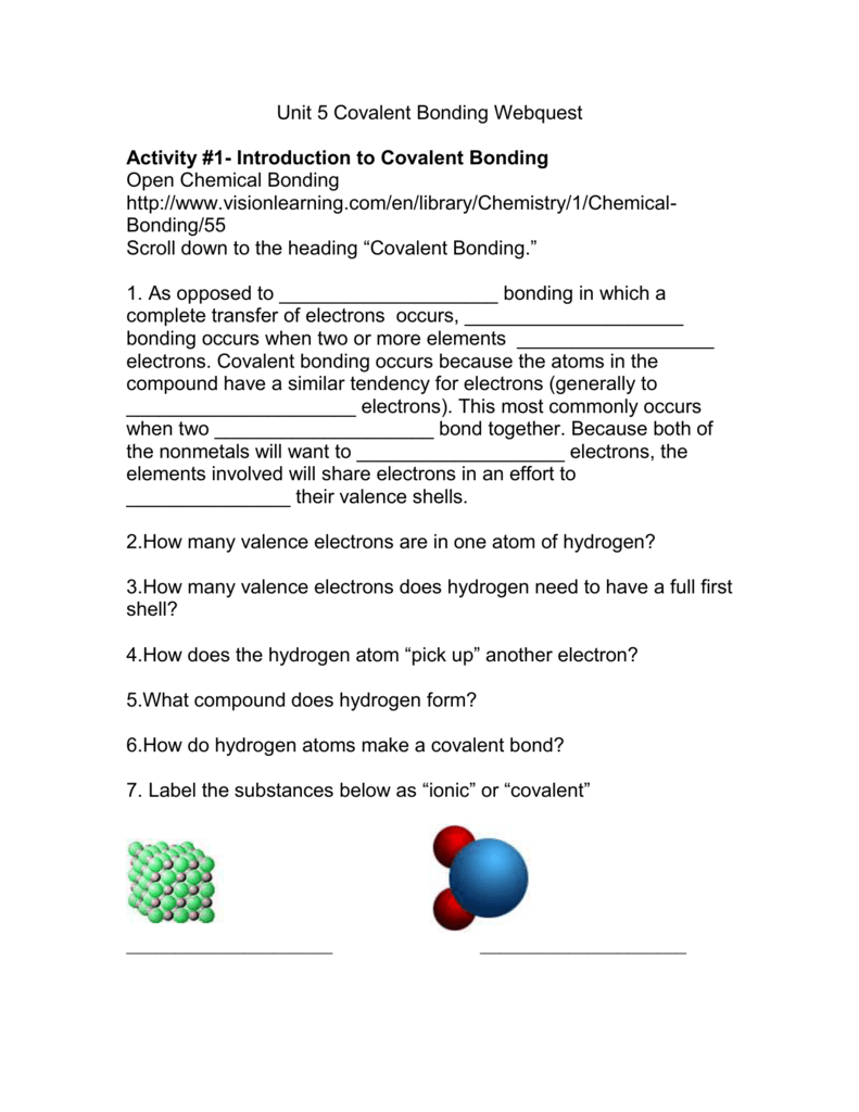 Unit 5 Covalent Bonding Webquest