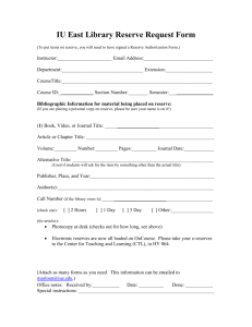 IU East Library Reserve Request Form