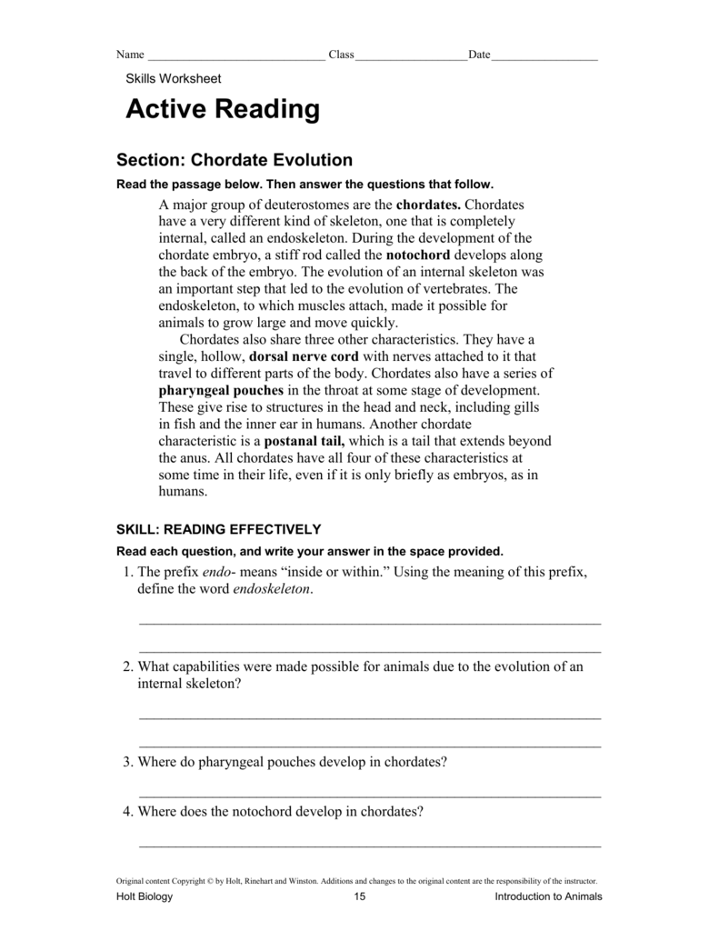 worksheet Introduction To Animals Worksheet Answers ch 26 chordate evolution active reading