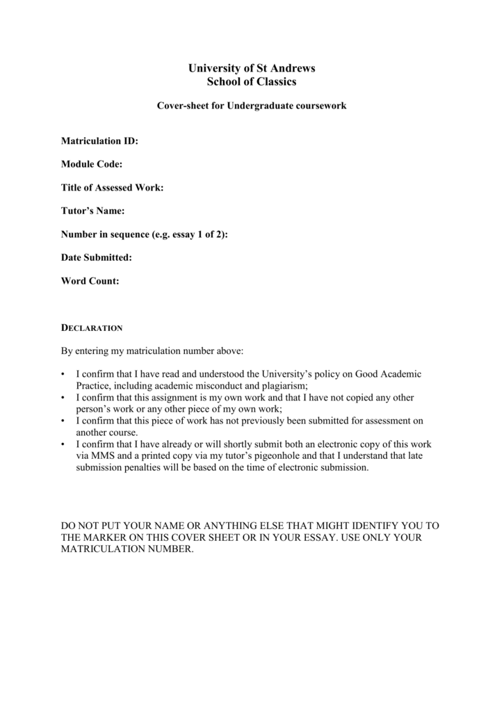 electronic assignment coversheet essay