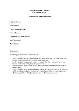 MLitt essay cover sheet - University of St Andrews