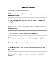 Comma Splice Worksheet - Wilson