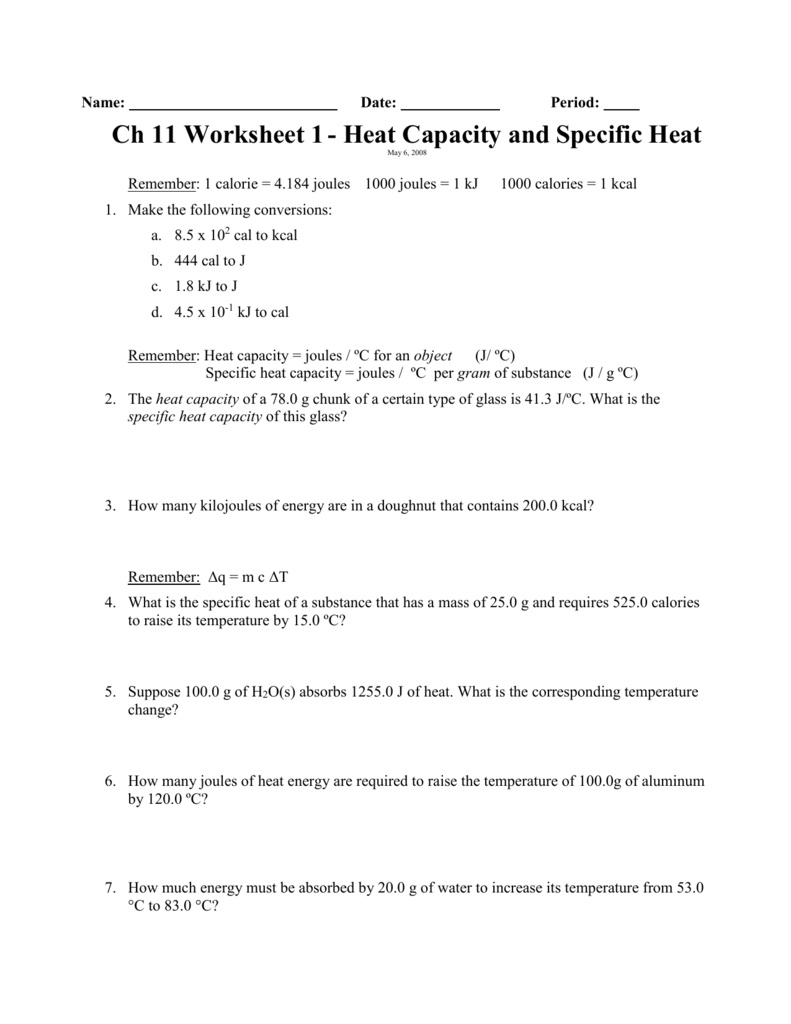 Heat Capacity and Specific Heat Worksheet 1 3304 12641 PM – Specific Heat and Heat Capacity Worksheet