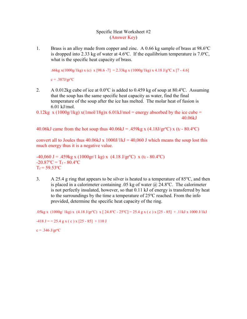 Specific Heat Worksheet 2