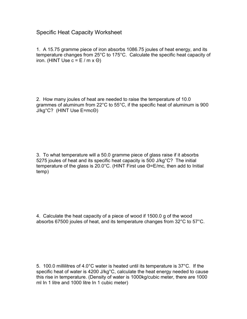 Worksheets Specific Heat Capacity Worksheet specific heat worksheet crypt