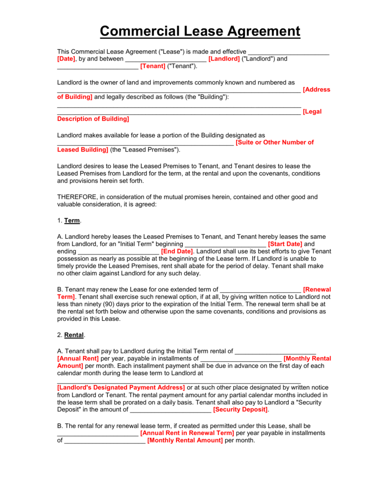 microsoft word free rental lease agreement forms and templates