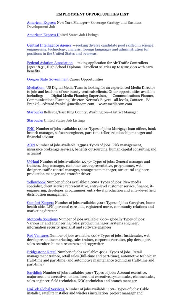 Employment Opportunities List