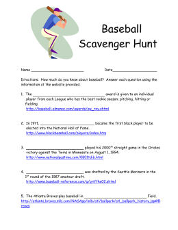 Scavenger Hunt For Baseball