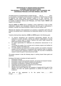 MEMORANDUM OF UNDERSTANDING REGARDING ACADEMIC