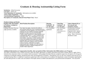 Graduate & Housing Assistantship Listing Form