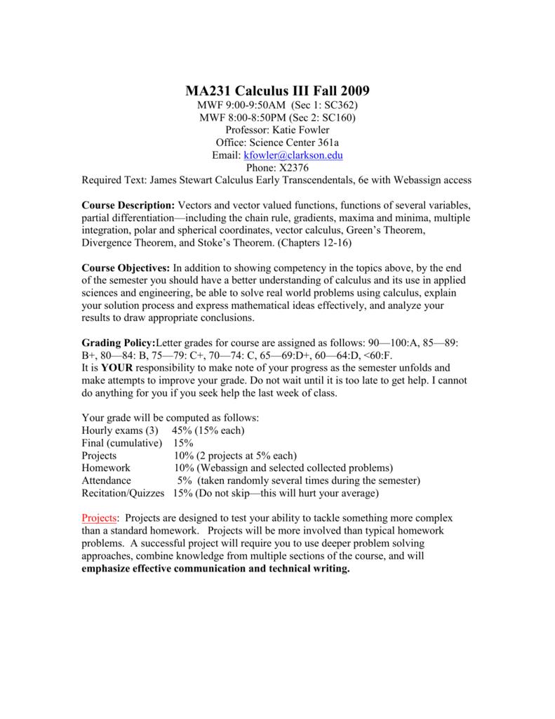MA231 Calculus III Spring 2005