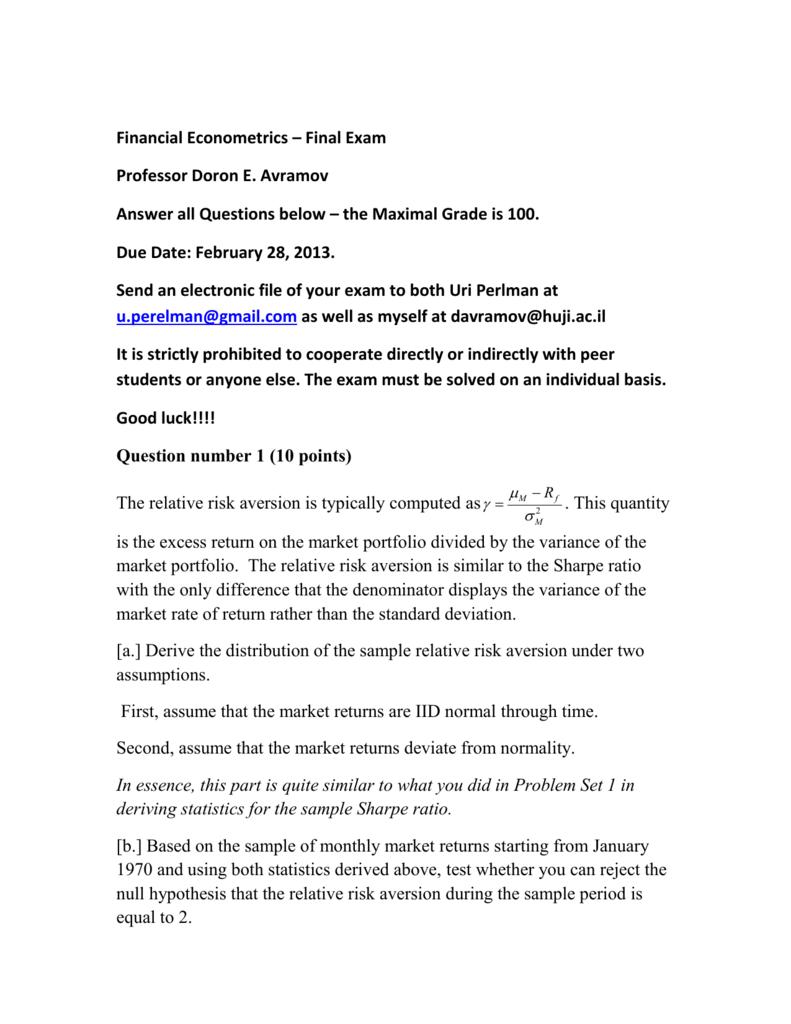 Financial Econometrics – Final Exam