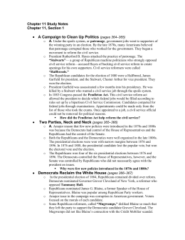 Chapter 11 Study Notes Chapter 11, Section 1 A Campaign to Clean