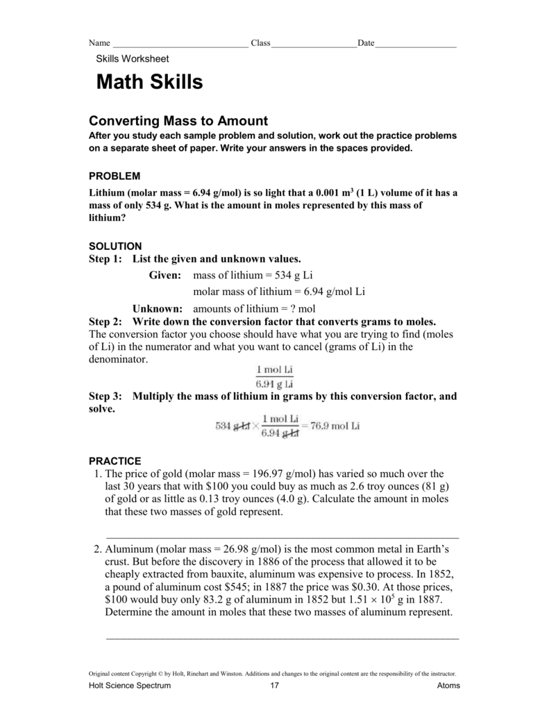 Worksheets Holt Science Spectrum Worksheets mass to amount math skills ws