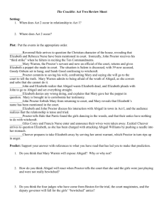 The Crucible: Act Two Mini Test Review Worksheet