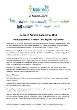 "In Association with BeGreen Autumn Roadshows 2012 ""Helping"