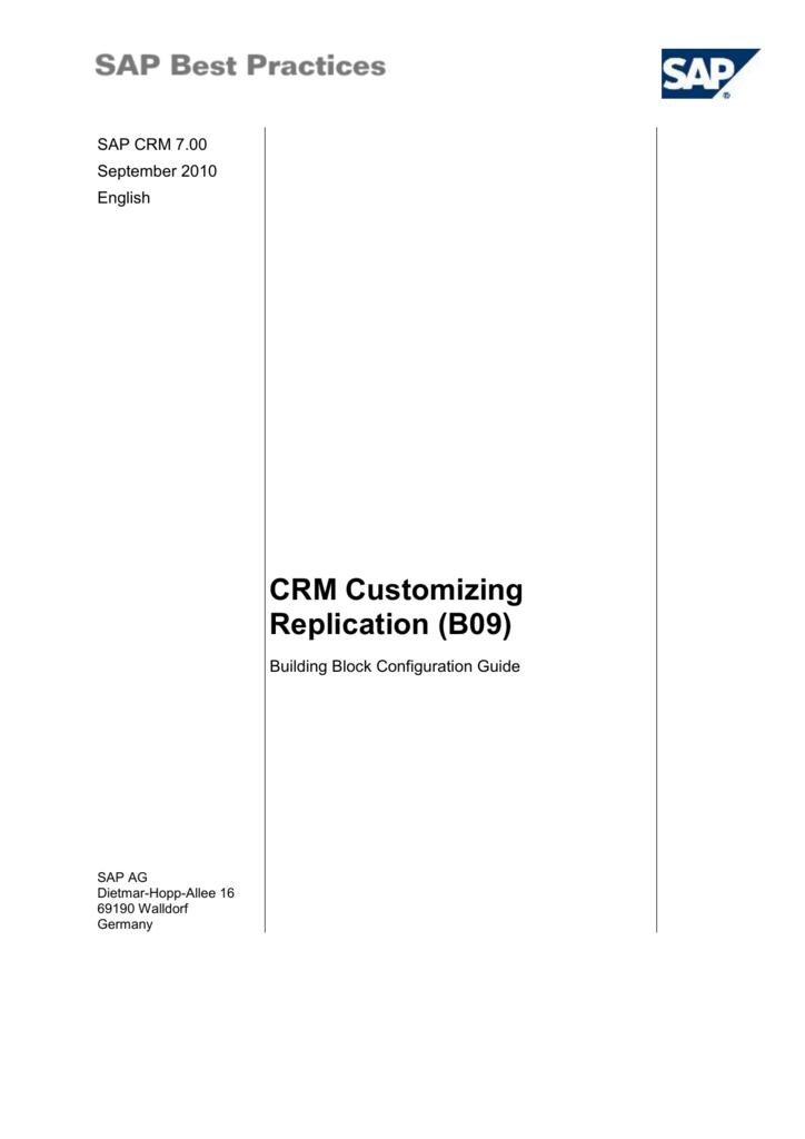 3 2 4 Replicating Customizing Objects (SAP CRM)