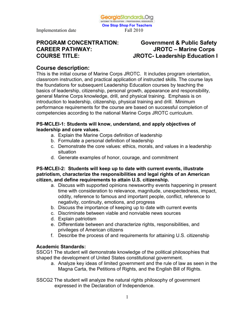 MCJROTC Leadership Education I - GADOE Georgia Department of