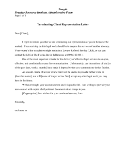 Terminating Client Representation Letter