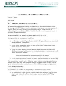 ENGAGEMENT AND REPRESENTATION LETTER
