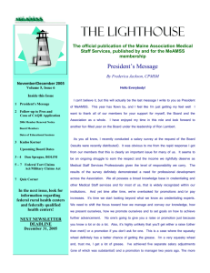 THE LIGHTHOUSE The official publication of the Maine Association