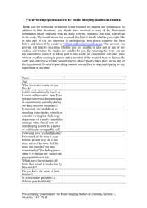 Tinnitus Research Screening Form