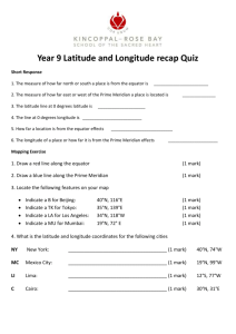 Year 9 Latitude and Longitude recap Quiz