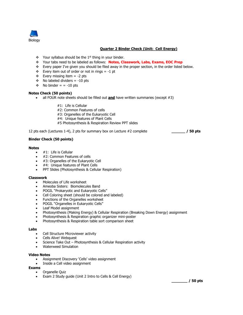 Binder Check #2 Fall 2015