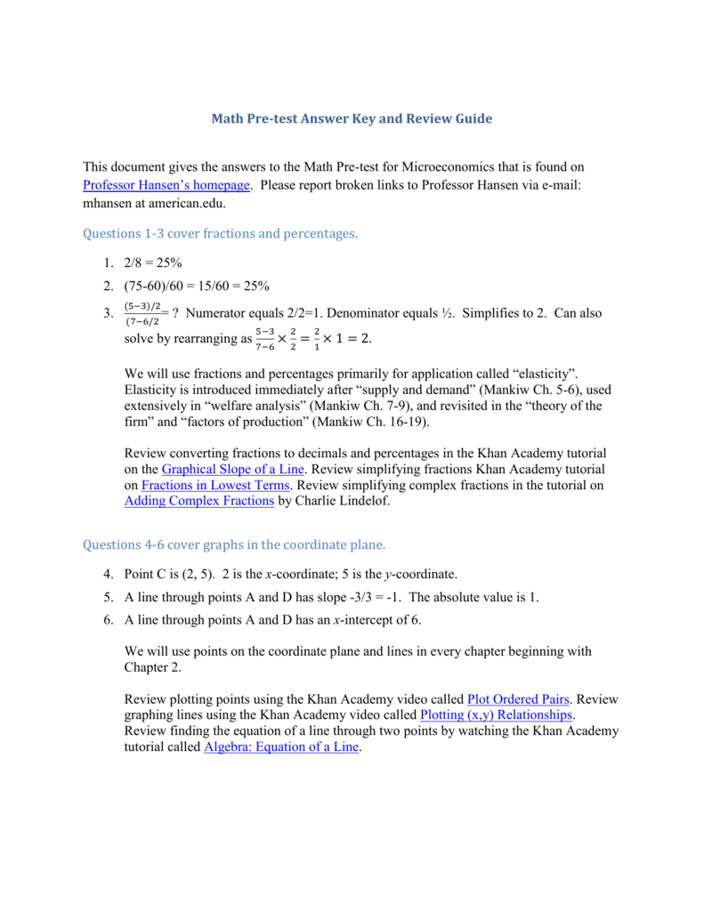 Math Pre-test Answer Key and Review Guide This document gives