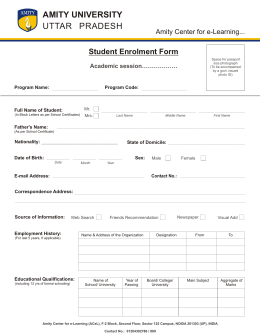 amity e learning student enrollment form