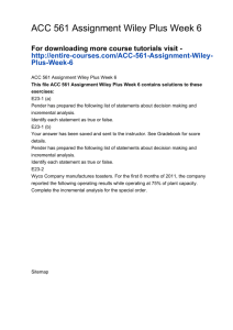 ACC 561 Assignment Wiley Plus Week 6