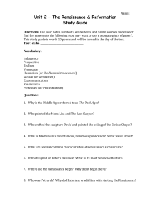 Unit 2 – The Renaissance & Reformation Study Guide