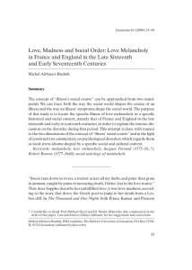 Love, Madness and Social Order: Love Melancholy in France and