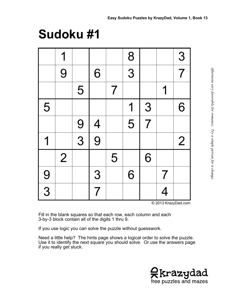 Easy Sudoku Puzzles Book 13