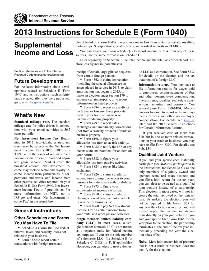 Instructions for schedule e form 1040 falaconquin