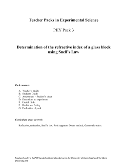 Determination of the refractive index of a glass block