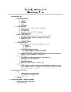 Basic Elements of a Marketing Plan