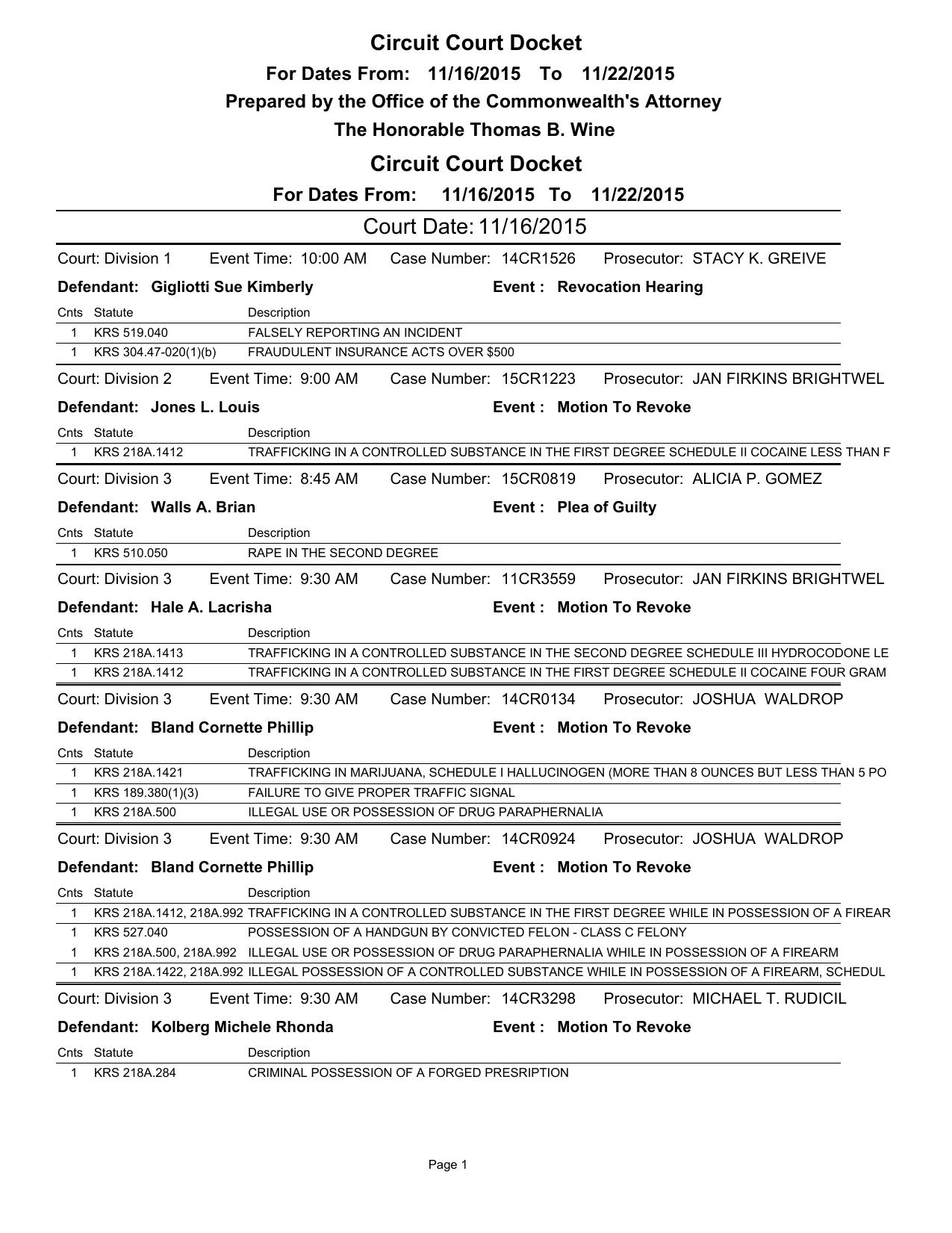 Circuit Court Docket, week of November 16
