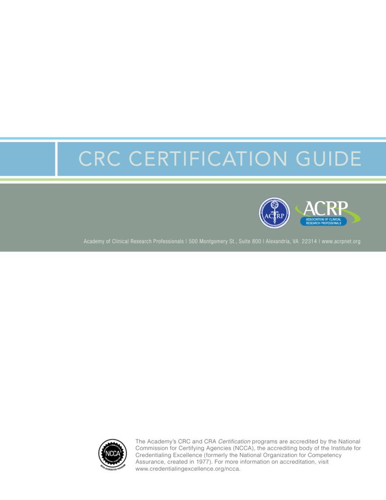 crc certification guide rh studylib net CRC Certification Dairy CRC Certification Exam